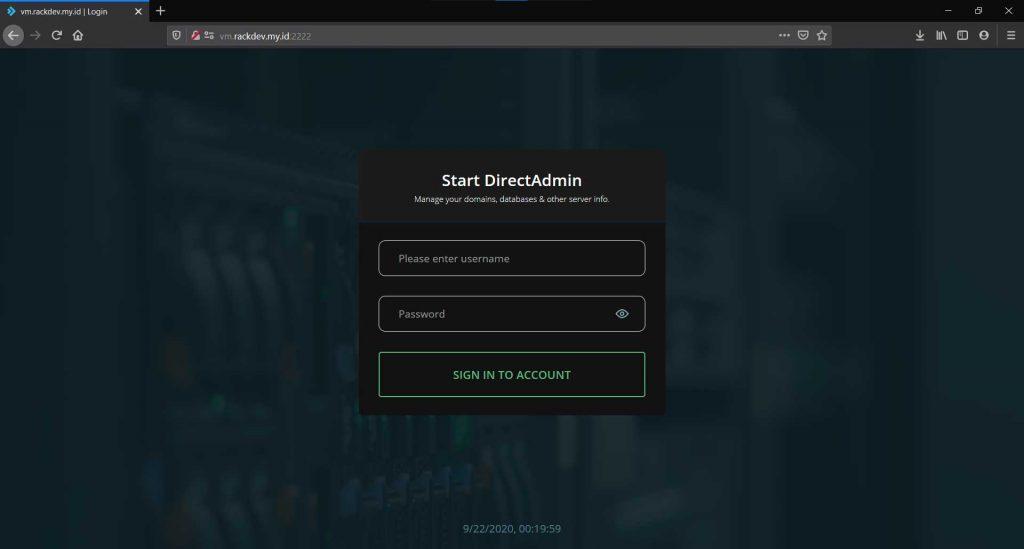 Directadmin form login