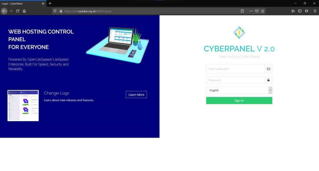 Login admin Cyberpanel