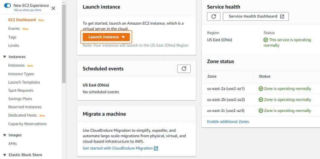 Klik launch instance