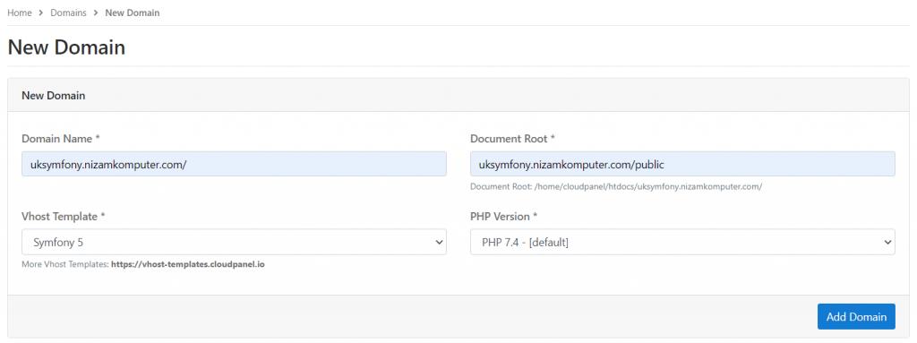 Setting domain di CloudPanel