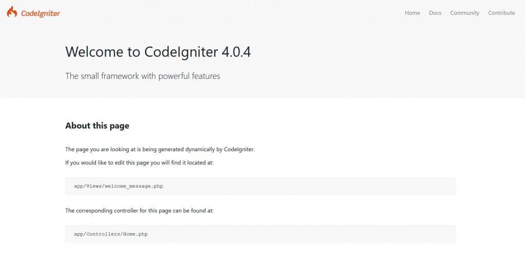 Welcome CodeIgniter 4