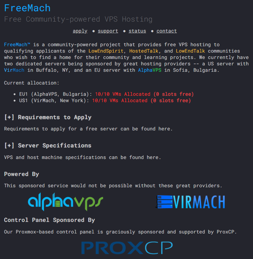 FreeMach is a community-powered project that provides free VPS hosting